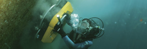 Diver performing underwater hull cleaning