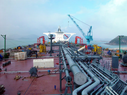Piping systems on an oil tanker